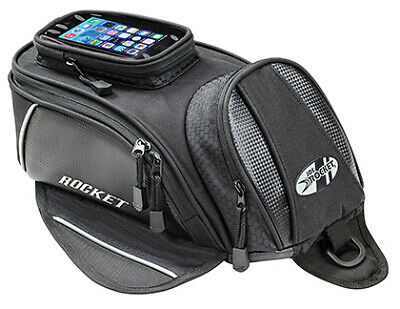 Joe Rocket Manta Black/Carbon Magnetic Motorcycle Tank Bag w/ Smartphone Pocket