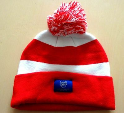 *** Bnwot Great Quality Arsenal Red & White Stripe Football - Bobble Hat ***