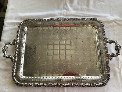 """Vintage Wilcox International Silver IS Silver Plate Tray A1383 22"""" Grapes Roses"""