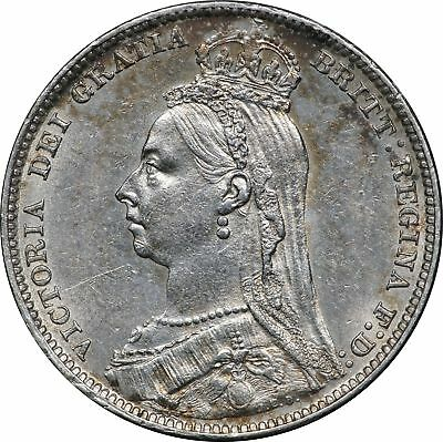 1891 UK Great Britain, 1 Shilling, AU 1S About Uncirculated