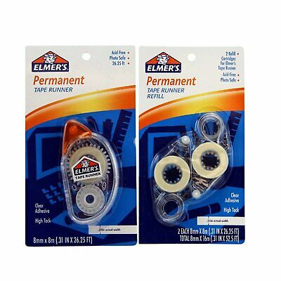 Elmers Permanent Tape Runner And Refill Combo Pack 8 mm X 8 m