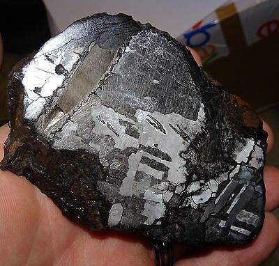 Beautiful 665 Gm. Etched Canyon Diablo Meteorite End Cut; Dual Troilite Iclus