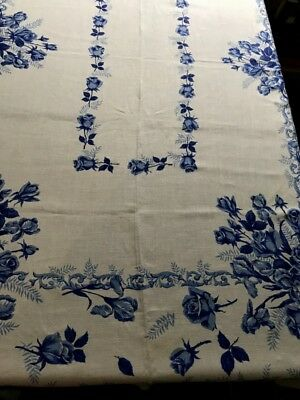 """Amazing Blue Roses on White Early Vintage Beautiful Tea Tablecloth 68"""" x 52"""" SQ"""