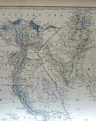 Egypt north Africa extensive terrain c.1860 Johnston large old engraved map