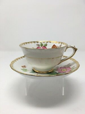 Tuscan Cup & Saucer Pink Flowers, Scalloped Gold Trim & Dots Pattern
