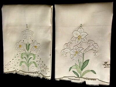 "Two Adorable  Bermuda Guest Towels Hand Embroidery Applique Work19 3/4"" x14"""