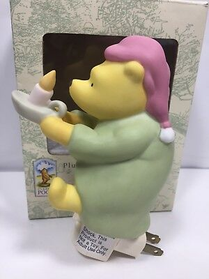 Classic Winnie the Pooh Plug in Night Light Pajamas with Candle Ceramic~Michel