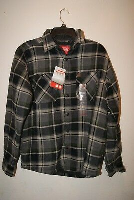 816f49c7a8 Coleman Men s Sherpa Lined Flannel Shirt Jacket Grey Olive Plaid Sz Small -  NWT