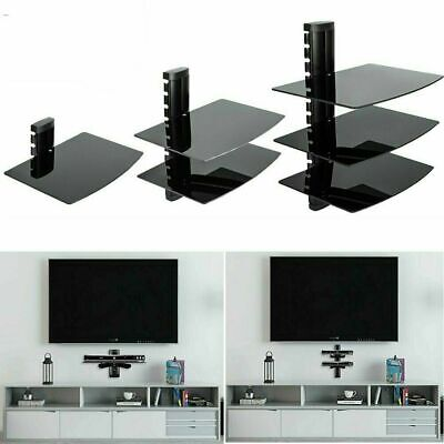 Floating Black Glass Wall Mount Shelf for SKY/Xbox/Ps4 Single+Double+Triple Tier