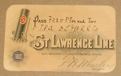 ***early 1892 St. Lawrence Line Steamboat Ticket Pass***cool Graphics