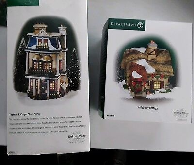 Lot of 2 Dept 56 Dickens - Hollyberry Cottage 58729, Teaman & Crupp China 58314