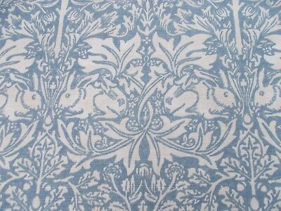 William Morris Curtain Fabric 'BRER RABBIT' 1.5 METRES Slate/Vellum - Linen Mix