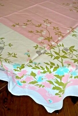 Vintage MCM Tablecloth Stamped Cotton Pink White Gray Olive Aqua Motif 44 X 50
