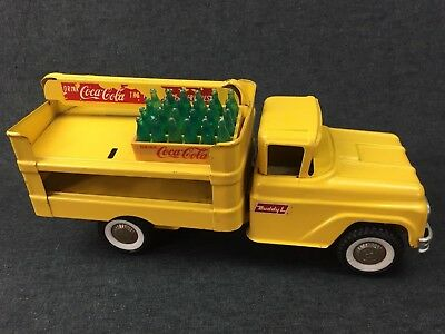 Vintage 1959 Buddy L COCA-COLA Delivery Truck Pressed Steel + 24-Bottle Crate