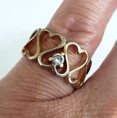 Vintage Hearts CZ Gold Tone Band Ring Size 5.5 Celtic