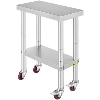 Stainless Steel Kitchen Work Bench Commercial Food Prep Table + Wheels 300x600mm