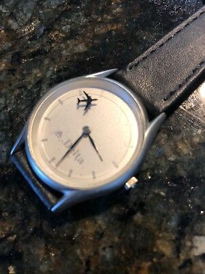 Rotating Plane Second Hand Dress Watch DELTA Airlines Advertisement