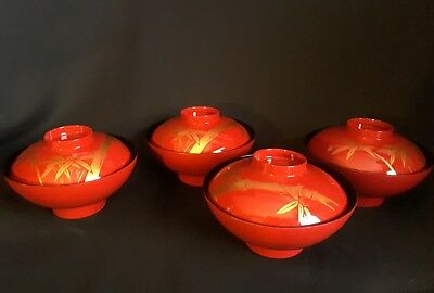 Vintage Japanese Lacquer Miso Soup Rice Bowls - set of 4