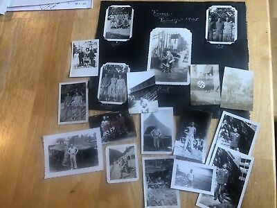 WWII US Army 534th  Artillery Lot of 18 Photos , Bazooka , Captured Flag