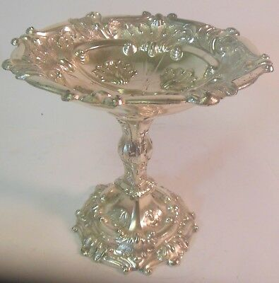 Antique Vtg Silver ORNATE COMPOTE Pedestal Bowl JAPAN