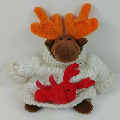 """TY Beanie Babies 9"""" Chocolate The Moose 1993 w/ Lobster Sweater Turtleneck"""