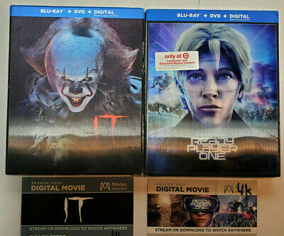 Ready Player One +IT Blu-ray+DVD+OOP Lenticular Slip Covers WITH 4K DIGITAL COPY