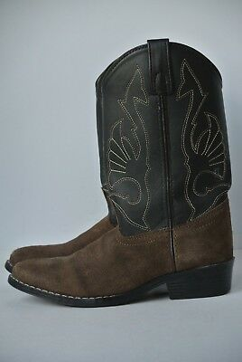 6a85db25d75 MASTERSON BOOT CO Boys Youth Sz 4 Brown Black Western Cowboy Boots NICE!!