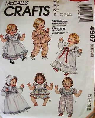 "$3 SALE-New-McCall's #4907-Baby Doll Clothes Wardrobe Pattern-Szs-{S-L} 12""-22"""