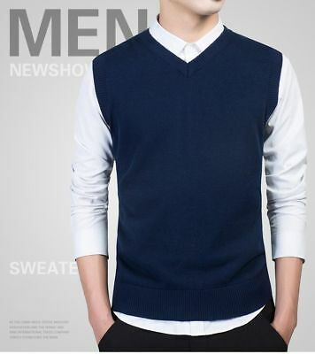 Men Slim Vest Sleeveless Sweater V Neck Casual Cotton Warm Casual Pullover