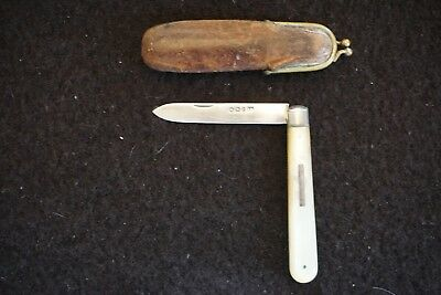Sheffield Fruit Knife 1897 MOP handles in original leather clip case