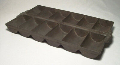"""Vintage Cast Iron 12-Well """"FRENCH ROLL"""" Gem-Muffin Pan (#11)"""