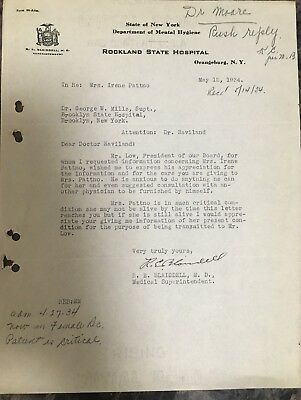 Rockland State Hospital Patient File 1934