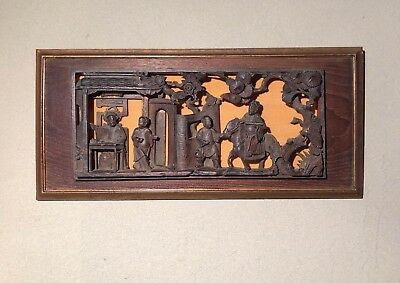 Antique Asian Hand Carved Wood Action Scene Horizontal Panel