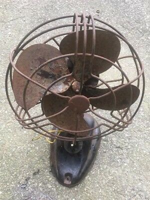 Vintage Signal Electric Table Fan 12 Inch Metal Blades for Parts / Repair *Works