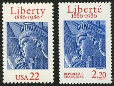 #2224 22c Stataue of Liberty w/ France #2014, Mint ANY 4=