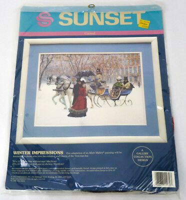 Sunset Stitchery WINTER IMPRESSIONS Crewel Embroidery Kit 1992 Dimensions NEW
