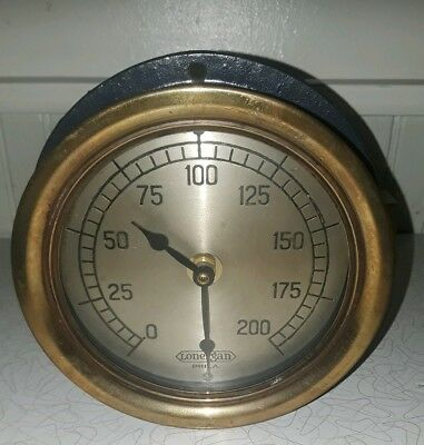 "Vtg Lonergan Brass & Cast Iron Pressure Gauge 6"" Philadelphia Made Into Clock"