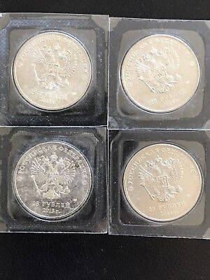 Ships from USA Rare 25 rubles Russian UNC Sochi 2014 Olympic Mascots Coin