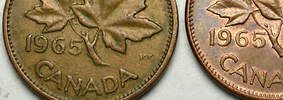 1965 SB Pointed 5 and Blunt 5 Varieties of CANADA 1 Cent Pennies - Scarce