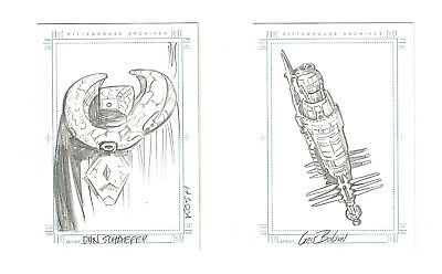 Both Babylon 5 Complete SketchaFEX Cards / B5 Station & Kosh / Rare Hand Drawn