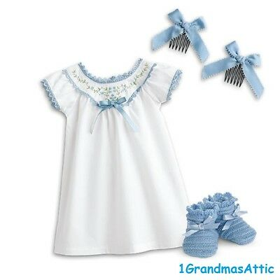 American Girl Addy's Nightgown New NRFB Nightie Blue Hair Combs Slippers