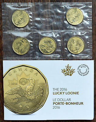 2016 Canada LUCKY LOONIE 5-Loonie Pack in Royal Canadian Mint Envelope
