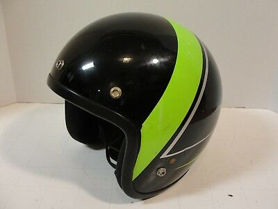 Vintage Arctic Cat Snowmobile Motorcycle Helmet Black Green Racing