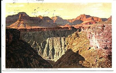 1001 Sunset on Granite Gorge, Grand Canyon, DETROIT.- FRED HARVEY  Postcard.