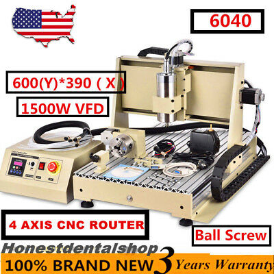 4 Axis Engraver Cnc6040Z Router Engraving Drilling Milling Machine 3D Cutter New