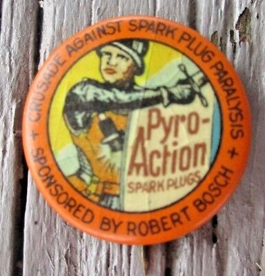 Vintage Bosch Pyro-Action Spark Plugs Celluloid Pinback Button