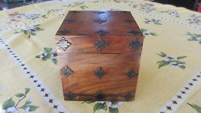Quality Solid Square Wooden Box with Metal Decoration,12.7 cms,made in India
