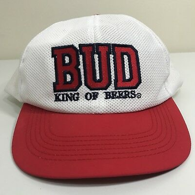 VTG 90s Budweiser BUD King of Beers Mesh Snapback Hat Cap White Red Alcohol  USA a39c9c33a8df