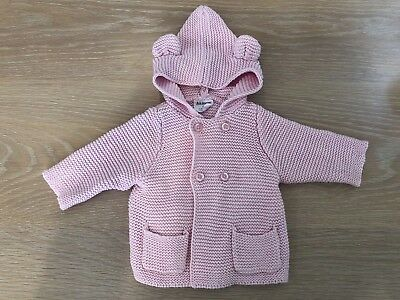 Milky 100% Cotton Knit Button Up Hoodie Coat Cardigan Pink 00 Girls