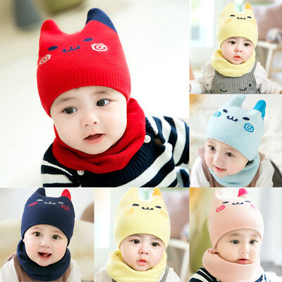 Baby Boys Girls Toddler Hat Cap With Scarf Set Wool Warmer Winter 100% Cotton US